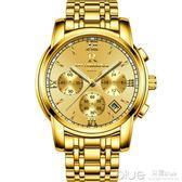 2019新款男士手錶防水全自動機械錶男錶瑞士概念時尚潮金色手錶男  深藏blue