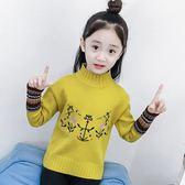 女童套頭毛衣秋冬裝韓版兒童高領針織衫中大童裝-BB奇趣屋