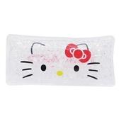 〔小禮堂〕Hello Kitty 長方形透明果凍顆粒保冷劑《白.大臉》保冰劑.冰墊.冰敷袋 4525636-26569