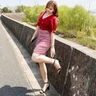 大尺碼洋裝 L-5XL 格子V領收腰包臀顯瘦連衣裙 #wm1214 @卡樂@