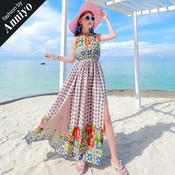 Anniyo安妞‧波西米亞裙襬雙邊開衩海邊度假無袖印花雪紡沙灘裙收腰顯瘦長裙長洋裝 花色
