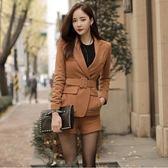 秋季套裝女時尚兩件套 毛呢西裝長袖翻領外套修身高腰短褲     時尚教主