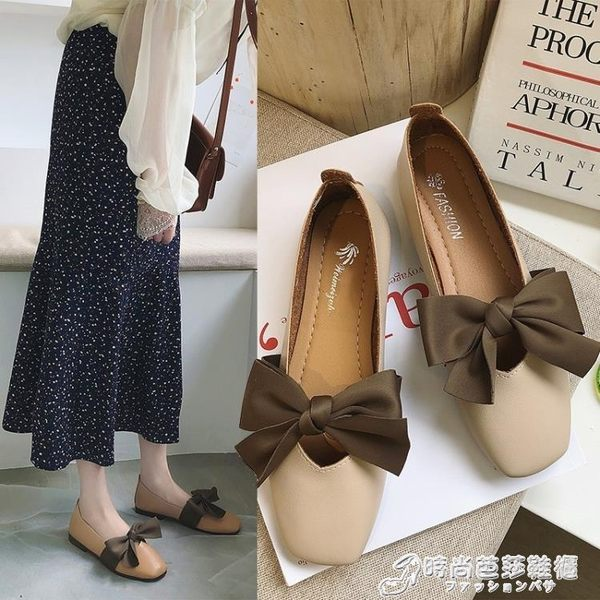 平底單鞋 蝴蝶結方頭小單鞋女春夏季韓版復古森女風平底懶人豆豆鞋 時尚芭莎