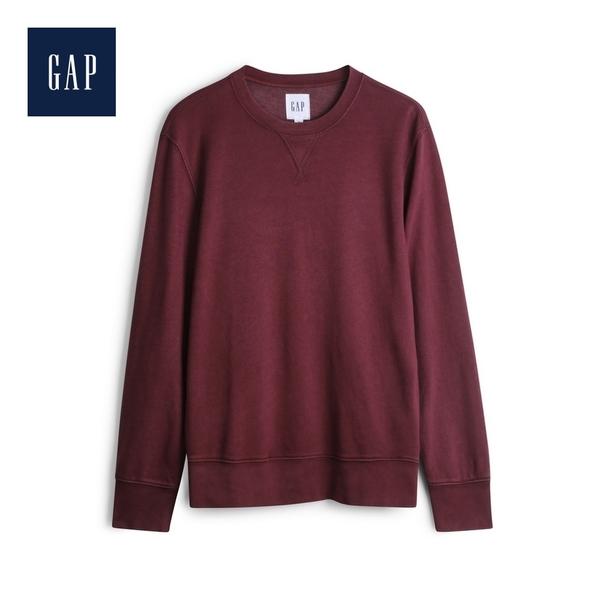 Gap男裝簡約純色圓領套頭上衣548798-酒紅