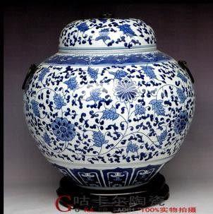 景德鎮 陶瓷器手繪青花瓷將軍罐