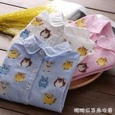 女童長袖襯衫-兒童個性條紋上衣 童裝春秋新款女寶寶可愛卡通圖案翻領襯衣 糖糖日系