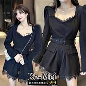 克妹Ke-Mei【ZT64715】JELLY名媛設計感法式蕾絲排釦西裝連身褲裝