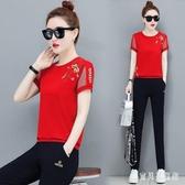 夏季運動套裝 新款韓版時尚修身圓領短袖褲裝 兩件式休閒跑步服 TR486『寶貝兒童裝』