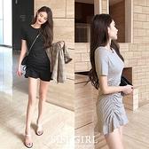 SISI【D20042】韓國性感圓領短袖抽繩顯胸曲線包臀魚尾裙荷葉邊洋裝連身裙連衣裙夜店派對約會