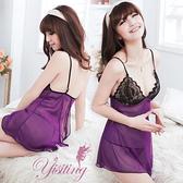 性感睡衣 Yisiting 微妙滋味!性感蕾絲薄紗透視睡衣 紫   530920