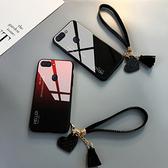 OPPO R15 手機殼 玻璃鏡面防摔保護套 漸變時尚 簡約男女款 創意手繩 全包手機套