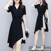 大碼女裝夏季新款微胖女孩mm顯瘦穿搭條紋拼接V領氣質洋裝 618購物節