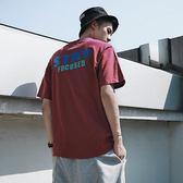 The one夏季新款短袖T恤男生五分袖寬鬆韓版港風學生情侶體恤潮男
