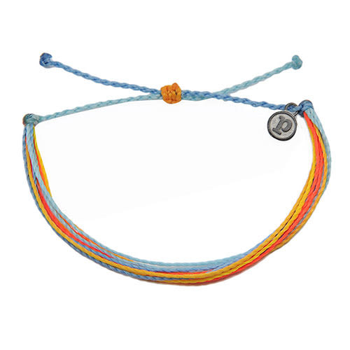 Pura Vida 美國手工 水藍橘色系可調式手鍊衝浪海灘防水手繩