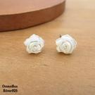 §海洋盒子§8mm漂亮唯美白薔薇貝殼925純銀耳環 (外鍍專櫃級正白K.貼耳耳環)