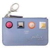 茱麗葉精品【全新現貨】FENDI 8AP151 彩色大鉚釘造型鑰匙圈零錢包.淺藍