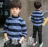 男童秋冬加絨T恤長袖高領打底衫新款兒童中大童條紋加厚上衣 芊惠衣屋