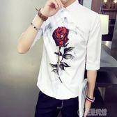 夏季韓版短袖襯衫修身男士七分袖襯衣印花中袖帥氣發型師長袖潮流   草莓妞妞
