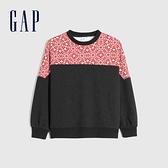 Gap女裝 碳素軟磨系列 時尚拼接休閒上衣 655696-灰色拼接