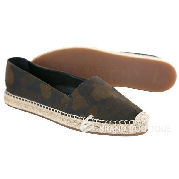 BURBERRY 迷彩圖騰棉麻麂皮麻織鞋(咖綠色) 1620717-07
