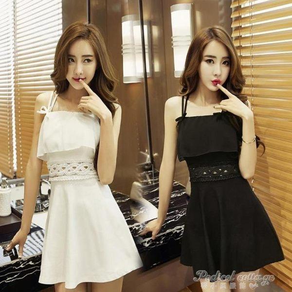 裝正韓夜店連身裙性感露背修身女裝吊帶荷葉邊禮服短裙洋裝 蒂小屋服飾