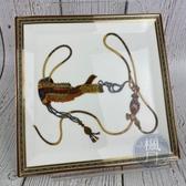 BRAND楓月 HERMES 愛馬仕 器具 馬具 圖案 圖騰 飾邊 方型 盤子 餐盤 瓷盤 擺設 擺飾 擺件 居家 1