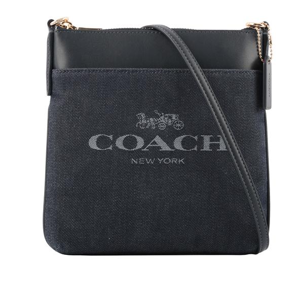 【COACH】專櫃款平滑皮革拼牛仔布口袋斜背包(深藍色) C3967 GDDEN