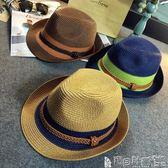 復古老帽 韓版麻繩拼色後邊小草帽潮韓版男士女爵士禮帽子遮陽沙灘 寶貝計畫