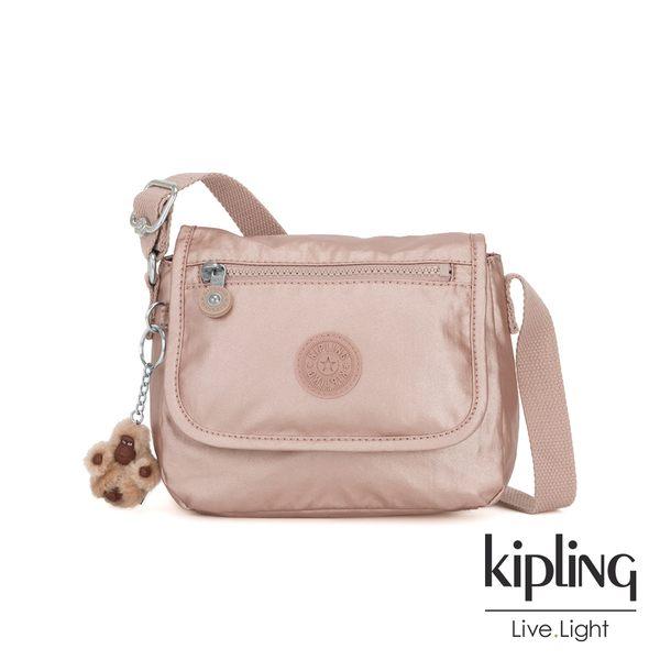 Kipling 唯美玫瑰金掀蓋側背小包-SABIAN