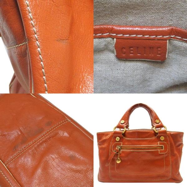 CELINE 賽琳 橘色牛皮手提包 Boogie Bag 【二手名牌BRAND OFF】