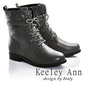 ★2016秋冬★Keeley Ann簡約率性真皮綁帶中筒軍靴(灰色) -Ann系列
