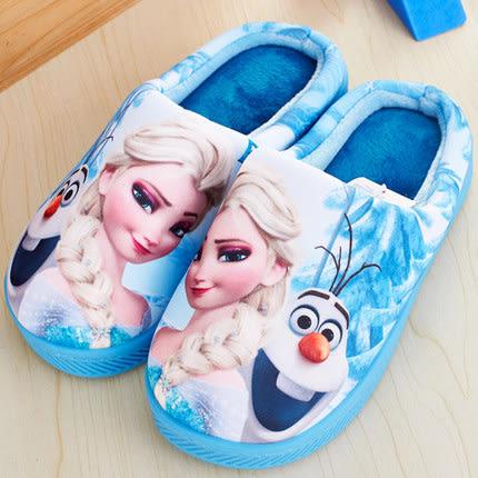 迪士尼冰雪奇緣家居兒童女中大童防滑保暖可愛舒適冬季棉拖鞋