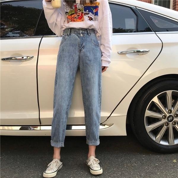水洗牛仔褲女2020秋季新款韓版學生鬆緊高腰寬鬆顯瘦九分褲哈倫褲 店慶降價