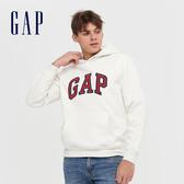 Gap男裝 Logo撞色字母連帽休閒上衣 618862-灰白色