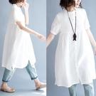 中大尺碼洋裝 文藝范夏裝減齡短袖棉麻襯衣立領白色襯衫遮肚子顯瘦女大碼連身裙