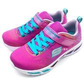 《7+1童鞋》中童 SKECHERS 10959L/NPMT 輕量透氣 彩紅亮面 電燈鞋 運動鞋 B981 桃色