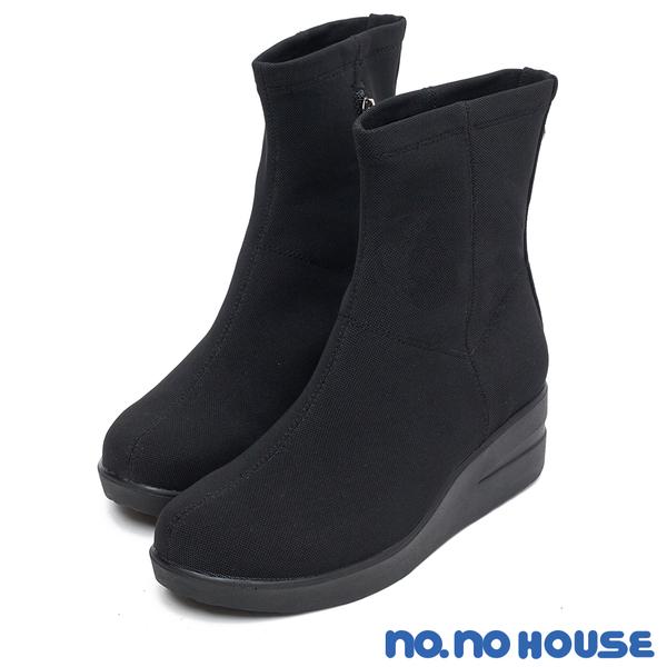 中筒靴 簡約美型後鉚釘厚底休閒靴(黑) *nonohouse【18-3537bk】【現貨】