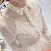 精選38折 韓系氣質收腰蕾絲網紗修身套裝長袖裙裝