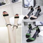 夏季性感細跟露趾百搭涼鞋一字扣小清新高跟鞋女鞋子