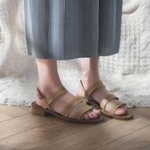 chic羅馬鞋子涼鞋女復古學生韓版百搭港味粗跟女鞋『伊莎公主』