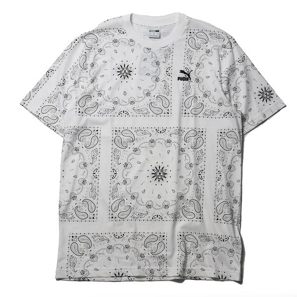 PUMA 上衣 短T OFFBEAT 白 滿版 變形蟲 方形 圓領 休閒 男 (布魯克林) 53254402