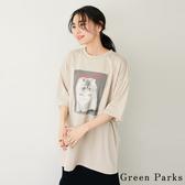 「Summer」注目貓咪印花長版T恤上衣 - Green Parks