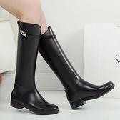 韓國新款時尚雨鞋女高筒夏防滑雨靴女成人防水鞋女長筒平底水靴膠 初色家居館