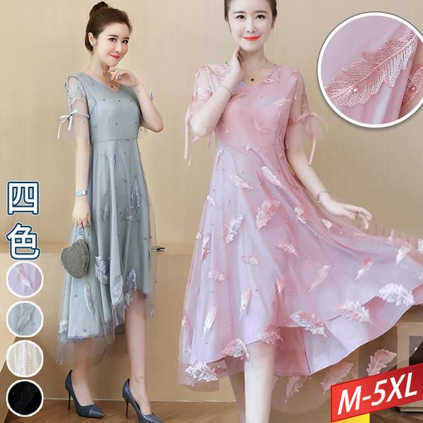 羽毛刺繡紗釘珠綁帶袖洋裝(4色) M~5XL【693304W】【現+預】-流行前線-