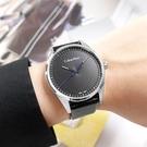CK / K8S211C1 / 簡約時尚 放射狀錶盤 礦石強化玻璃 皮革手錶 黑x銀框 40mm