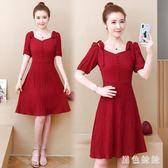 短袖紅色大碼洋裝2019夏季新款胖妹妹mm法式復古顯瘦遮肚子連身裙 mj15094『黑色妹妹』