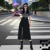 黑色開叉半身裙女夏季性感裙子長裙高腰顯瘦A字裙【左岸男裝】