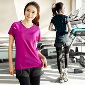 大碼運動套裝女跑步服健身房晨跑瑜伽服夏季胖mm200斤速干衣寬鬆