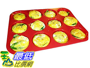 [105美國直購] 烤盤 Keliwa 12 Cup Silicone Muffin Cupcake Baking Pan/NonStick/Dishwasher Microwave Safe/21 FREE RECIPES