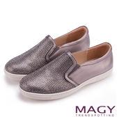 MAGY 甜美休閒 閃耀水晶鑽飾真皮樂福平底鞋-灰色